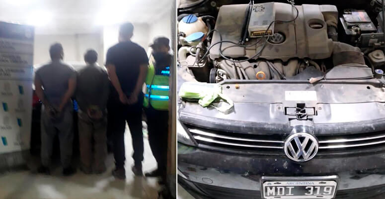 Detenidos en allanamiento mientras adulteraban un auto.