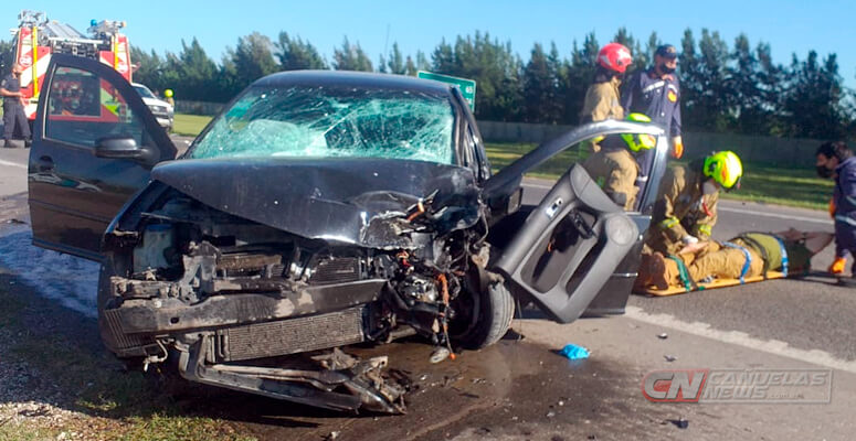 Colisión frontal sobre Ruta 205 deja a cinco personas heridas