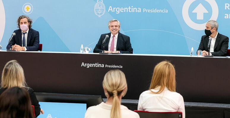 Alberto Fernández durante el lanzamiento del programa Créditos Casa Propia