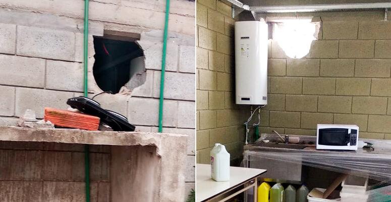 Por un boquete en la pared roban un Centro de Formación Profesional