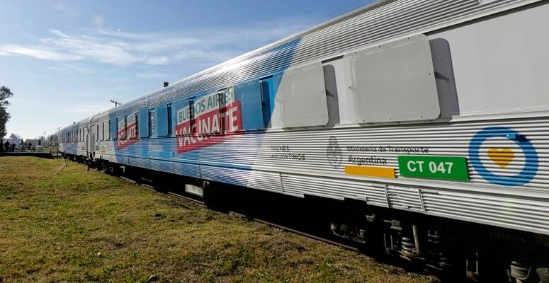 Tren Sanitario aparcado en la estación de trenes de Cañuelas