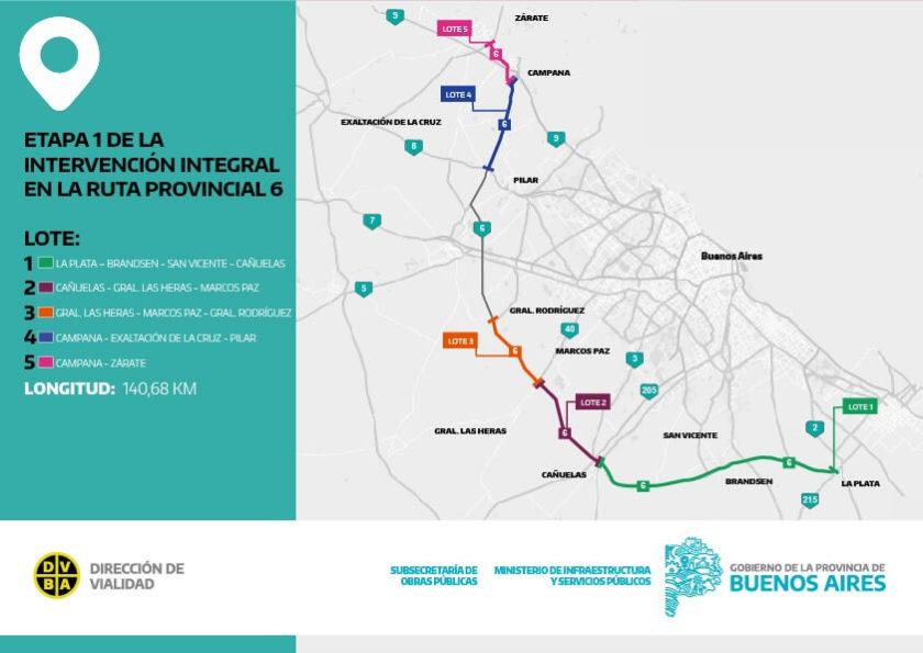 Mapa obras sobre Ruta 6