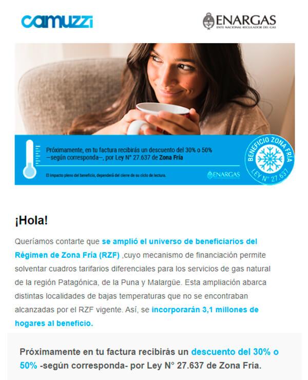 comunicado de camuzzi a sus usuarios en cañuelas