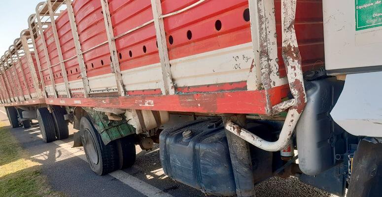 Camión involucrado en el accidente