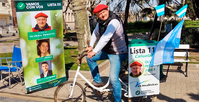 Pablo Olveira en plena campaña austera.